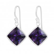 Square - 925 Sterling Silver Earrings with Zirconia stones A4S445