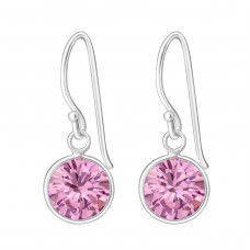 Round - 925 Sterling Silver Earrings with Zirconia stones A4S447