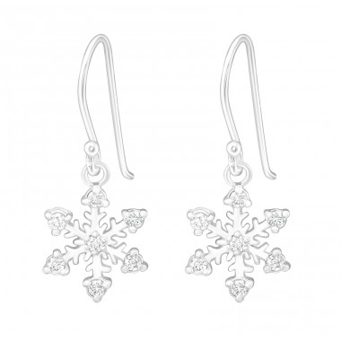 Snowflake - 925 Sterling Silver Earrings with Zirconia stones A4S5790