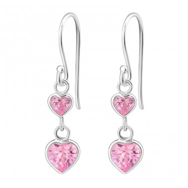 Hanging Hearts - 925 Sterling Silver Earrings with Zirconia stones A4S6028