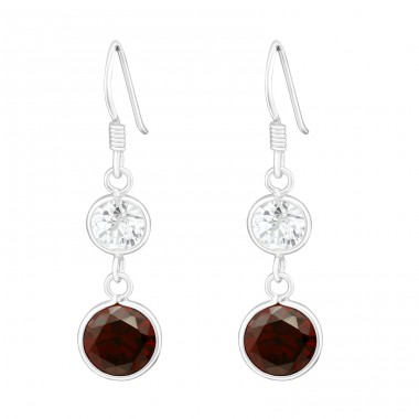 Hanging Circles - 925 Sterling Silver Earrings with Zirconia stones A4S6452