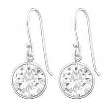 Round - 925 Sterling Silver Earrings with Zirconia stones A4S659