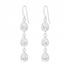 Hanging Tear Drops - 925 Sterling Silver Earrings with Zirconia stones A4S809