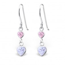 Hanging Hearts - 925 Sterling Silver Earrings with Zirconia stones A4S814