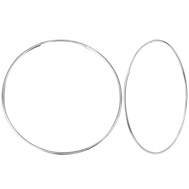 50mm Plain - 925 Sterling Silver Ear Hoops A4S12502