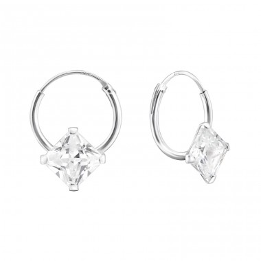 Single Stone - 925 Sterling Silver Ear Hoops A4S13865