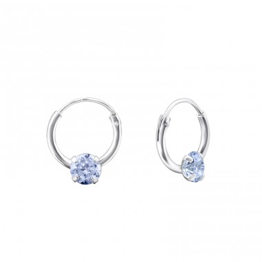Single Stone - 925 Sterling Silver Ear Hoops A4S13867