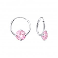 Single Stone - 925 Sterling Silver Ear Hoops A4S13868
