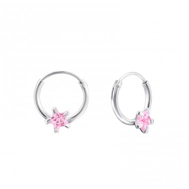 Single Stone - 925 Sterling Silver Ear Hoops A4S13870