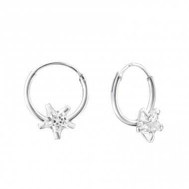 Single Stone - 925 Sterling Silver Ear Hoops A4S13871