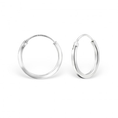 Plain - 925 Sterling Silver Ear Hoops A4S14999