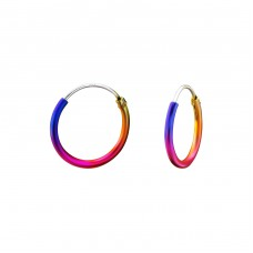 Colorful - 925 Sterling Silver Ear Hoops A4S15021