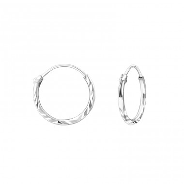 12mm Twisted - 925 Sterling Silver Ear Hoops A4S15040
