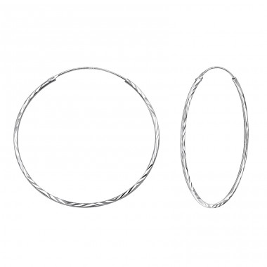 40mm Twisted - 925 Sterling Silver Ear Hoops A4S15042