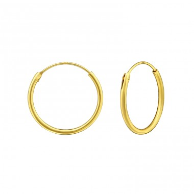 16mm Gold Plated hoop - 925 Sterling Silver Ear Hoops A4S15328