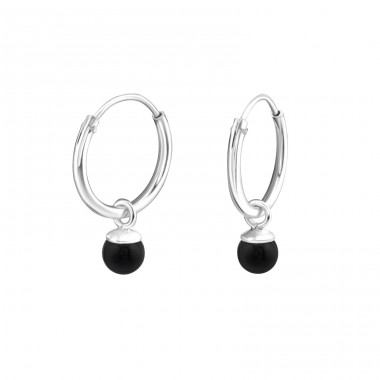 Hanging Pearl - 925 Sterling Silver Ear Hoops A4S15926