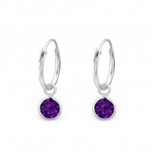 Hanging Oval - 925 Sterling Silver Ear Hoops A4S1660