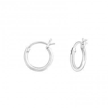 French Lock - 925 Sterling Silver Ear Hoops A4S18216