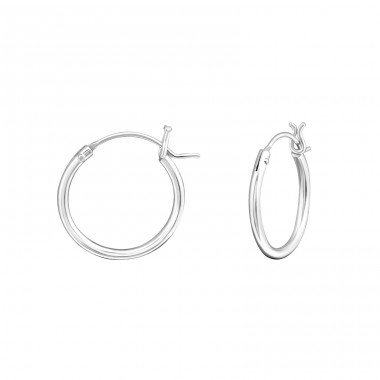 French Lock - 925 Sterling Silver Ear Hoops A4S18217