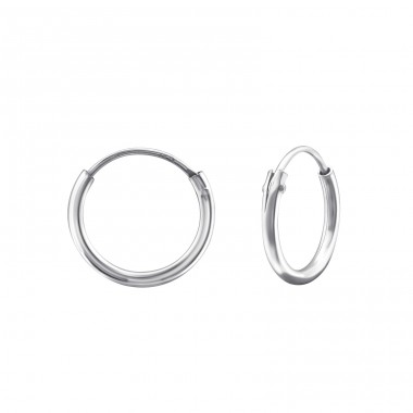 Plain - 925 Sterling Silver Ear Hoops A4S18218