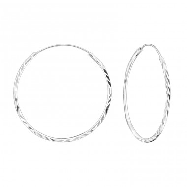 Twisted - 925 Sterling Silver Ear Hoops A4S18226