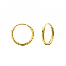 12mm Gold Plated hoop - 925 Sterling Silver Ear Hoops A4S18357