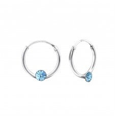 Single Stone - 925 Sterling Silver Ear Hoops A4S18681