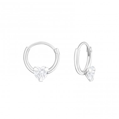 Round - 925 Sterling Silver Ear Hoops A4S19218