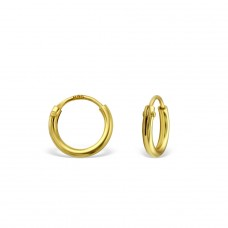 8mm Gold Plated hoop - 925 Sterling Silver Ear Hoops A4S20027