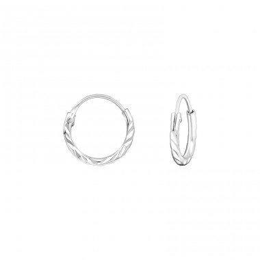 Twisted - 925 Sterling Silver Ear Hoops A4S20028