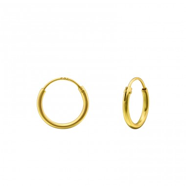 10mm Gold Plated hoop - 925 Sterling Silver Ear Hoops A4S20030