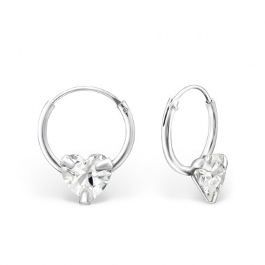 Single Stone - 925 Sterling Silver Ear Hoops A4S20311