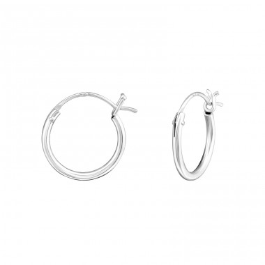 French Lock - 925 Sterling Silver Ear Hoops A4S21803