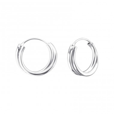 Double Hollow - 925 Sterling Silver Ear Hoops A4S21804