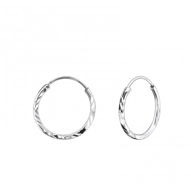 14mm Twisted - 925 Sterling Silver Ear Hoops A4S21854