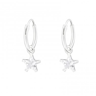 Hanging Star - 925 Sterling Silver Ear Hoops A4S21936