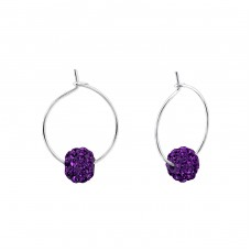 Beaded - 925 Sterling Silver Ear Hoops A4S21991