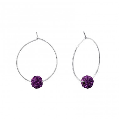 Beaded - 925 Sterling Silver Ear Hoops A4S21992
