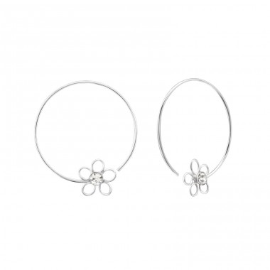 Flower - 925 Sterling Silver Ear Hoops A4S22299