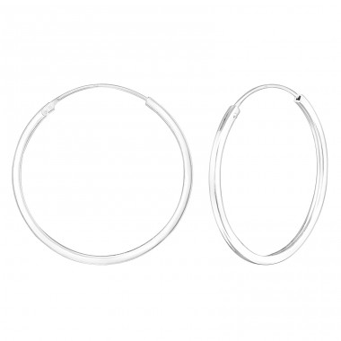 Round 30mm - 925 Sterling Silver Ear Hoops A4S22681