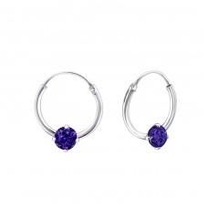 Single Stone - 925 Sterling Silver Ear Hoops A4S23463