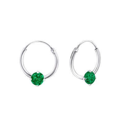 Single Stone - 925 Sterling Silver Ear Hoops A4S23465