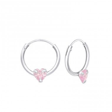 Single Stone - 925 Sterling Silver Ear Hoops A4S23562