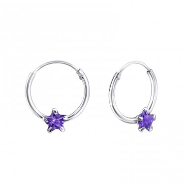 Single Stone - 925 Sterling Silver Ear Hoops A4S23564
