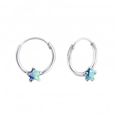 Single Stone - 925 Sterling Silver Ear Hoops A4S23566