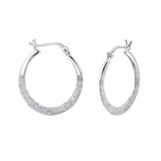 French Lock - 925 Sterling Silver Ear Hoops A4S23916