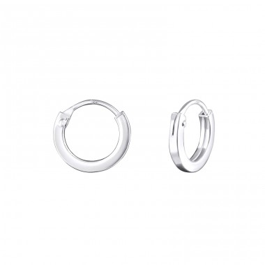 Plain - 925 Sterling Silver Ear Hoops A4S24662