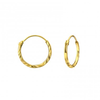 Gold Plated - 925 Sterling Silver Ear Hoops A4S25110