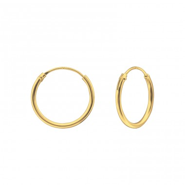 14mm Gold Plated hoops - 925 Sterling Silver Ear Hoops A4S25281