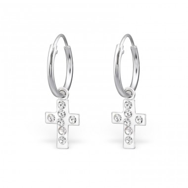 Cross - 925 Sterling Silver Ear Hoops A4S25449